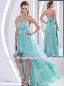 Low Price Sweetheart High Low Graduation Dress with Beading