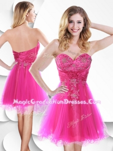 2016 Short Hot Pink Graduation Dress with Beading and Hand Made Flowers