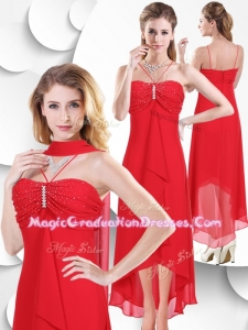 2016 Spaghetti Straps High Low Red 8th Grade Graduation Dress with Beading