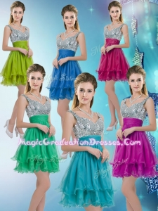 2016 Straps Short Graduation Dresses with Sequins for Fall