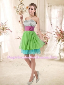 2016 Sweetheart Short 8th Grade Graduation Dresses with Sequins and Belt