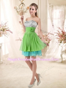Affordable Sweetheart Short 8th Grade Graduation Dresses with Sequins and Belt