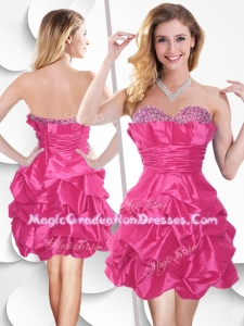 Hot Pink Taffeta 8th Grade Graduation Dress with Beading and Bubles