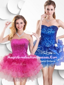 Hot Sale Short Strapless 8th Grade Graduation Dress with Sequins and Ruffles
