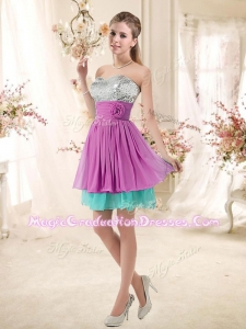 Inexpensive Sweetheart Sequins and Belt Designer Graduation Dresses in Multi Color