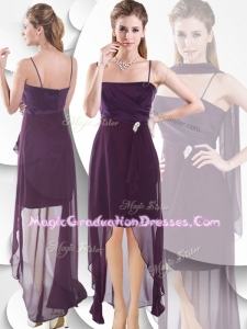 Latest Spaghetti Straps High Low 8th Grade Graduation Dress in Burgundy