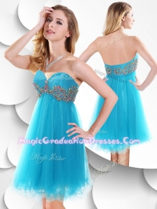 Sweet Short Baby Blue 8th Grade Graduation Dress with Beading