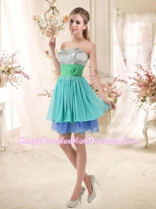 Sweet Short Multi Color Designer Graduation Dresses with Sequins and Hand Made Flowers