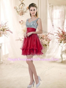 Wonderful Straps Sequins and Ruching 8th Grade Graduation Dresses in Wine Red
