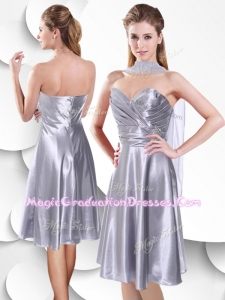 Best Empire Elastic Woven Satin Silver Romantic Graduation Dress with Beading and Ruching