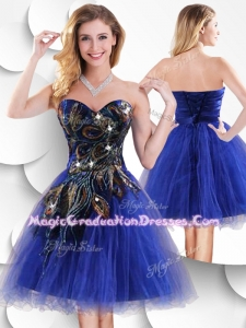 Luxurious Short Peacock Blue Designer Graduation Dress with Beading and Appliques