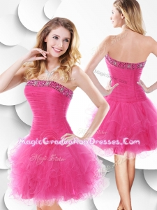Luxurious Strapless Hot Pink Designer Graduation Dress with Beading and Ruffles