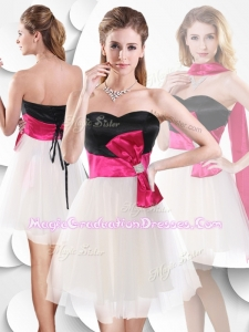 Perfect Short White and Black Designer Graduation Dress with Bowknot