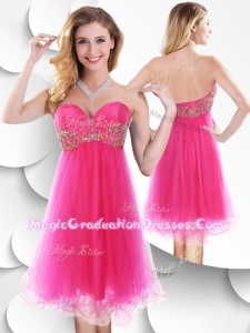Romantic Sweetheart Hot Pink Short Graduation Dress with Beading
