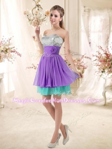 Romantic Sweetheart Short Graduation Dresses with Sequins and Belt