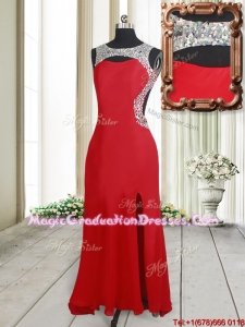 2017 Affordable Beaded Decorated Scoop Elastic Woven Satin Graduation Dress with High Slit