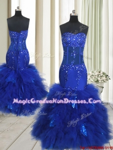 2017 Beautiful See Through Mermaid Beaded and Sequined Ruffled Graduation Dress in Royal Blue