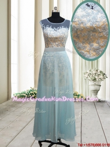 2017 Classical See Through Scoop Short Inside Long Outside Graduation Dress in Light Blue