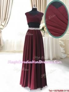 2017 Discount Two Piece Cap Sleeves Burgundy Graduation Dress with Beaded Decorated Waist
