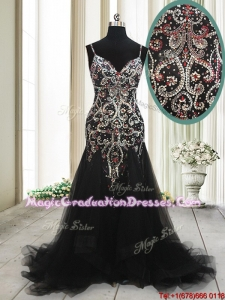 2017 Fashionable Spaghetti Straps Beaded Tulle Black Graduation Dress with Brush Train
