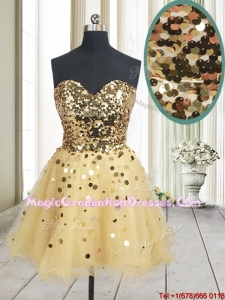 Best Selling Sequined Bodice Zipper Up Organza Graduation Dress in Champagne
