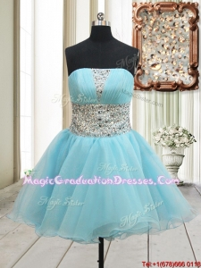 Lovely A Line Strapless Zipper Up Aqua Blue Graduation Dress with Beading