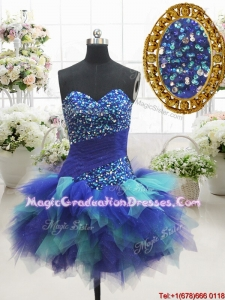 Most Popular Two Tone Sweetheart Short Graduation Dress with Beading and Ruffles