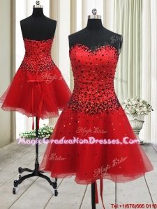 New Style A Line Sweetheart Red Short Graduation Dress with Beading
