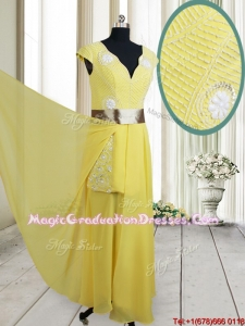 Popular Beaded and Belted V Neck Chiffon Yellow Graduation Dress with Cap Sleeves
