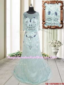 Top Seller See Through Scoop Beaded and Laced Apple Green Graduation Dress with Brush Train