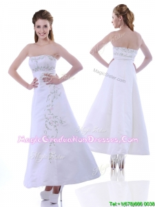 2016 Elegant Ankle Length White Graduation Dress with Embroidery and Beading