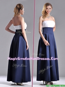 2016 Elegant Strapless Ankle Length Graduation Dress in Navy Blue and White