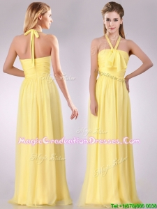 2016 Lovely Halter Top Chiffon Ruched Long Graduation Dress in Yellow