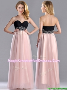 2016 Modern Empire Beaded and Ruched Graduation Dress in Baby Pink and Black