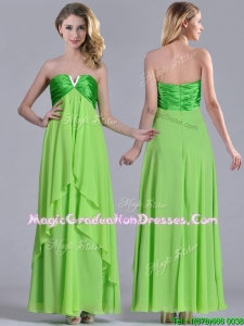 2016 Pretty Beaded Decorated V Neck Spring Green Graduation Dress in Ankle Length