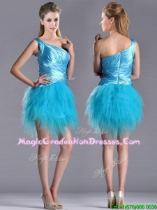 2016 Wonderful One Shoulder Ruched and Ruffled Aqua Blue Graduation Dress in Tulle