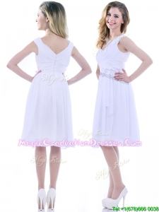 Beautiful V Neck Knee Length Chiffon Graduation Dress with Bowknot