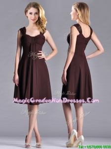Best Selling Empire Ruched Brown Graduation Dress with Wide Straps