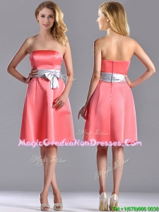 Best Selling Watermelon Knee Length Graduation Dress with Silver Bowknot