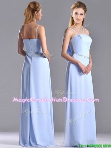 Cheap Chiffon Spaghetti Straps Long Graduation Dress with Zipper Up