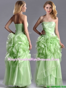Classical Beaded and Bubble Organza Graduation Dress in Yellow Green