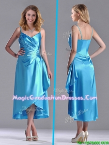 Classical Spaghetti Straps Baby Blue Graduation Dress in Tea Length