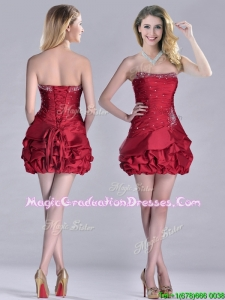 Classical Taffeta Wine Red Short Graduation Dress with Beading and Bubbles