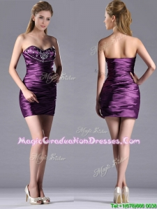 Discount Column Beaded Bust and Ruched Graduation Dress in Dark Purple