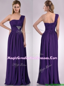 Discount Empire Beaded and Ruched Dark Purple Graduation Dress with One Shoulder