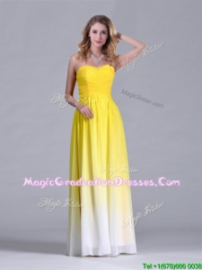 Discount Empire Sweetheart Ruched Long Graduation Dress in Gradient Color