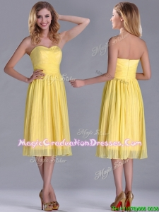Discount Pleated Yellow Chiffon Graduation Dress in Tea Length