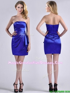 Exquisite Column Strapless Royal Blue Graduation Dress in Taffeta