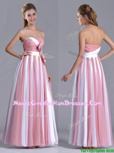 Hot Sale Bowknot Strapless White and Pink Graduation Dress with Side Zipper
