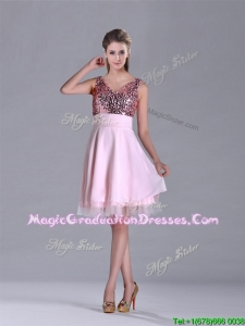 Latest V Neck Sequined Decorated Bodice Graduation Dress in Baby Pink